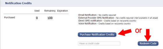 Purchase Notification Credits in iMonnit