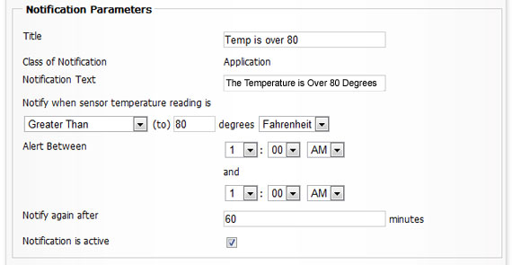Notification Parameters