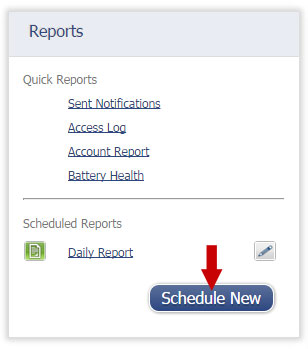 iMonnit Scheduled Reports - Schedule New Button