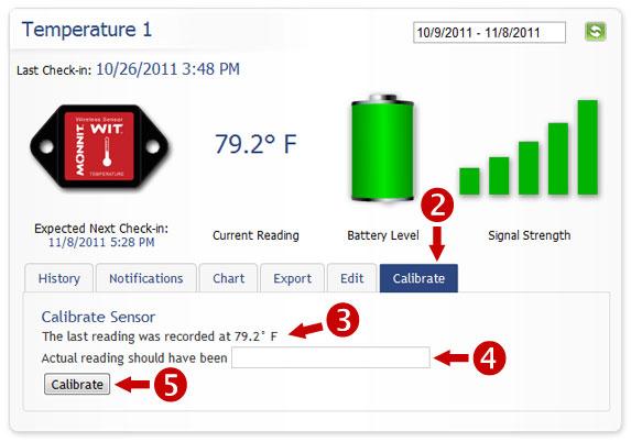 Sensor Calibration Screen