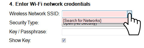 Enter Wi-Fi Network Credentials